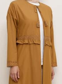 Brown - Unlined - Crew neck - Cotton - Topcoat