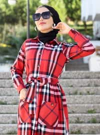 Red - Plaid - Point Collar - Unlined - Viscose - Dress