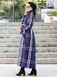 Navy Blue - Plaid - Point Collar - Unlined - Viscose - Dress