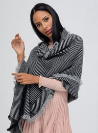 Acrylic - Gray - Printed - Shawl Wrap