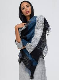 Acrylic - Navy Blue - Printed - Shawl Wrap