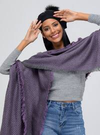 Acrylic - Purple - Printed - Shawl Wrap