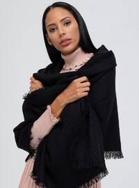 Acrylic - Black - Plain - Shawl Wrap