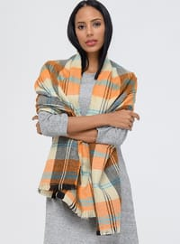 Acrylic - Orange - Printed - Shawl Wrap