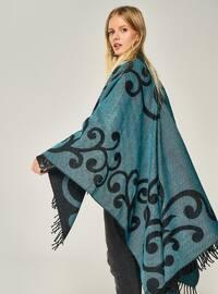 Turquoise - Unlined - Acrylic - Poncho