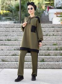 Haki - Çok Renkli - Astarsız Kumaş - Takım Elbise