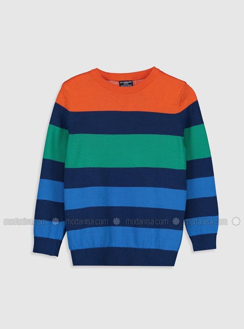 Stripe - Crew neck - Navy Blue - Boys` Pullover