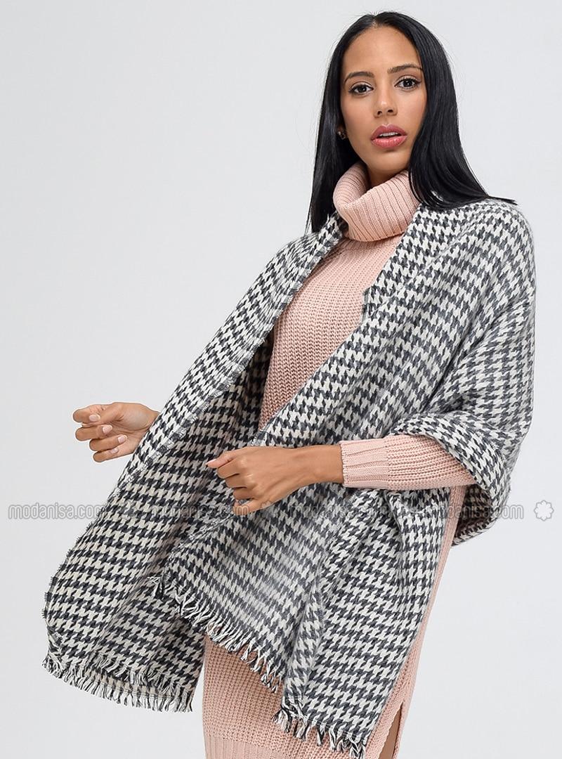 Acrylic - Beige - Gray - Printed - Shawl Wrap
