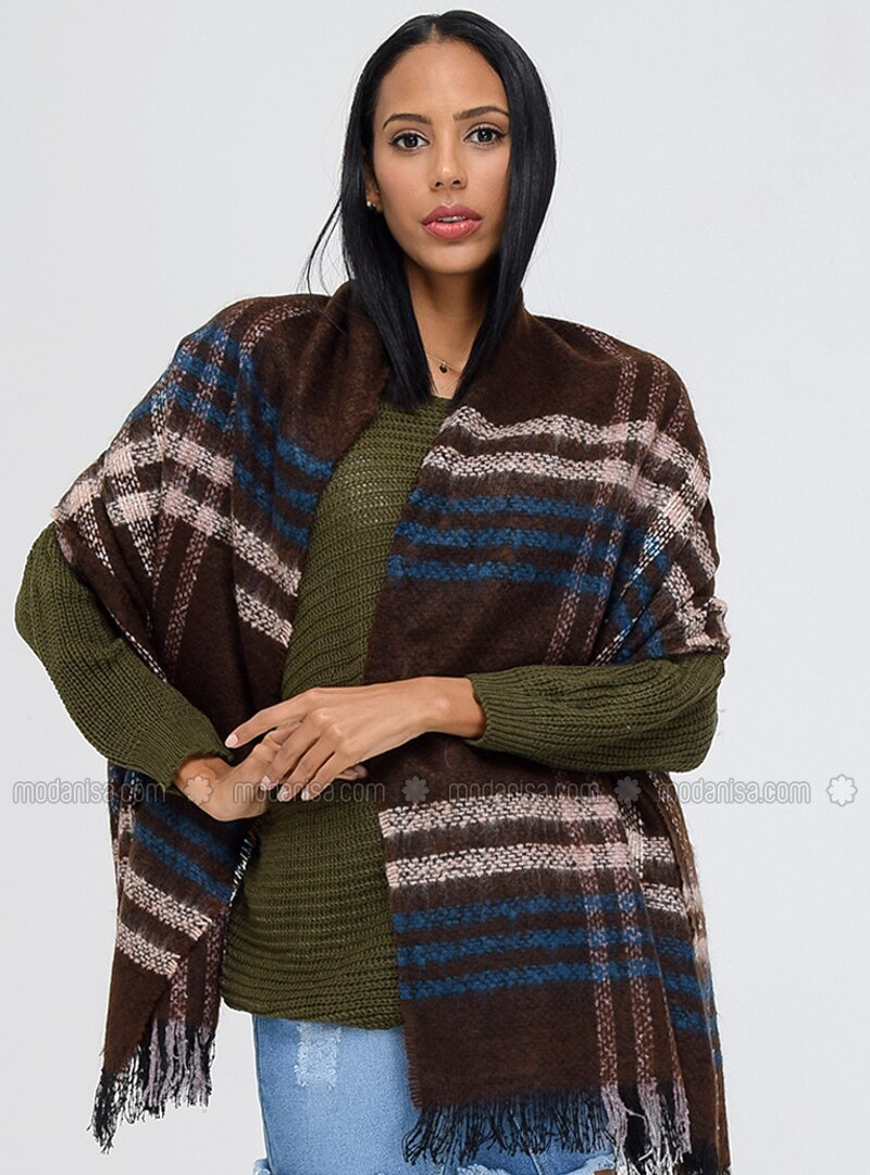 Acrylic - Brown - Printed - Shawl Wrap