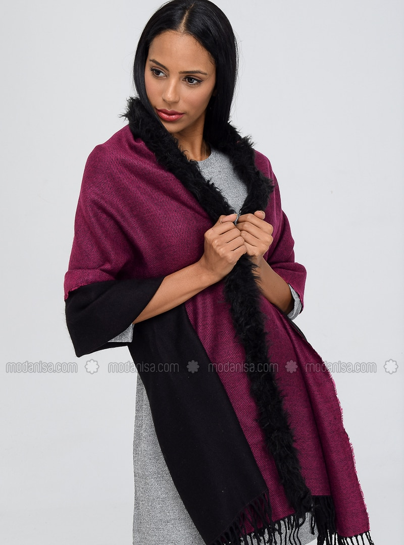 Acrylic - Fuchsia - Black - Plain - Shawl Wrap