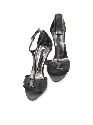 Gray - High Heel - Evening Shoes - Dilipapuç