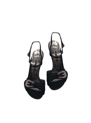 Black - High Heel - Evening Shoes - Dilipapuç
