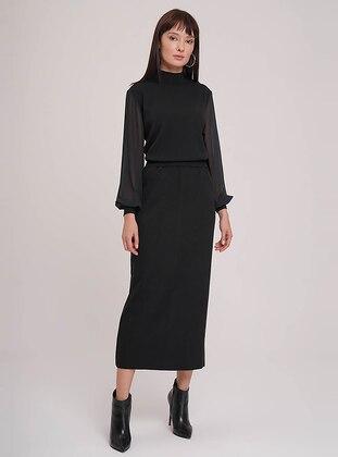Black - Unlined - Acrylic -  - Skirt