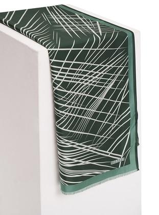 Green - Leopard - %100 Silk - Shawl