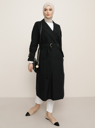 Black - Unlined - Shawl Collar - Linen -  - Trench Coat - Refka