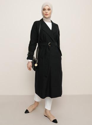Black - Unlined - Shawl Collar - Linen -  - Trench Coat - Refka