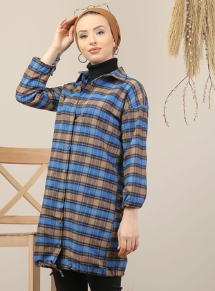 Saxe - Mink - Plaid - Point Collar - Acrylic - Tunic - Tofisa
