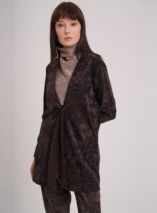 Brown - Unlined - Shawl Collar -  - Jacket