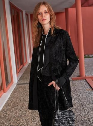 Black - Unlined - Shawl Collar -  - Jacket