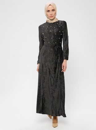 Anthracite - Point Collar - Fully Lined - Dress