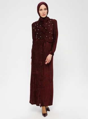 Maroon - Point Collar - Fully Lined - Dress