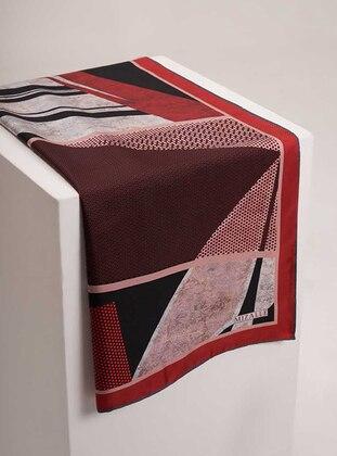 Red - Plaid - %100 Silk - Scarf