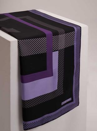 Purple - Plaid - %100 Silk - Scarf
