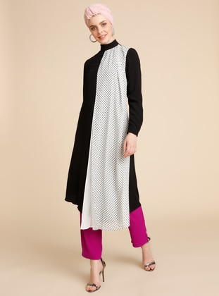 White - Black - Polka Dot - Polo neck - Dress