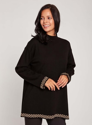 Black - Polo neck - Acrylic -  - Knit Sweaters