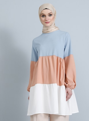 Blue - Tan - Point Collar - Viscose - Tunic