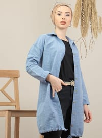Blue - Plaid - Point Collar - Acrylic - Tunic