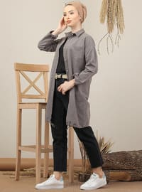Brown - Plaid - Point Collar - Acrylic - Tunic