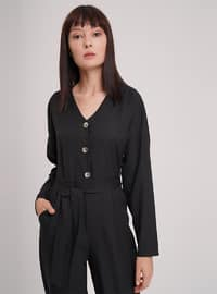 Black - V neck Collar - Jumpsuit