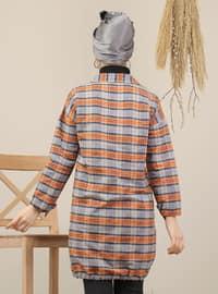 Gray - Orange - Plaid - Point Collar - Acrylic - Tunic
