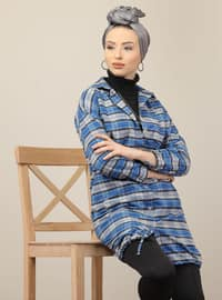 Gray - Saxe - Plaid - Point Collar - Acrylic - Tunic