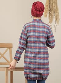 Navy Blue - Plaid - Point Collar - Acrylic - Tunic
