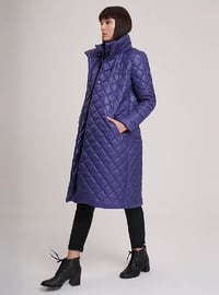 Navy Blue - Purple - Fully Lined - Polo neck - Puffer Jackets
