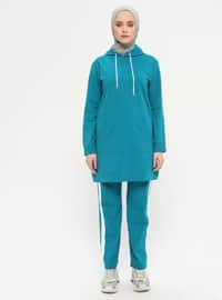 Petrol - Green - Cotton - Tracksuit Set