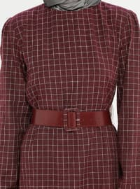 Maroon - Checkered - Crew neck - Unlined -  - Dress