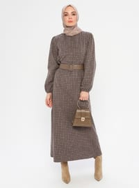 Brown - Checkered - Crew neck - Unlined -  - Dress