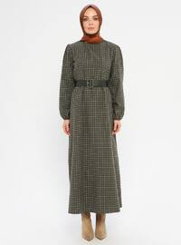Green - Checkered - Crew neck - Unlined -  - Dress