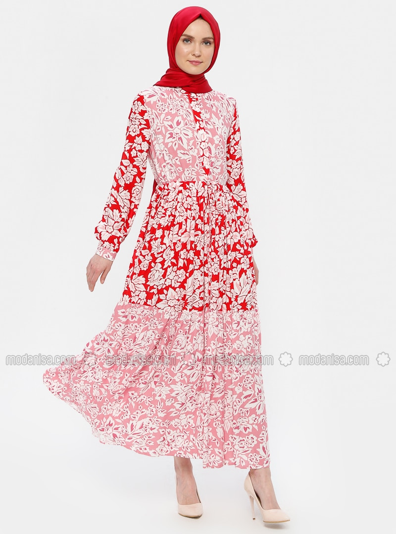 Red - Pink - Floral - Crew neck - Unlined - Dress