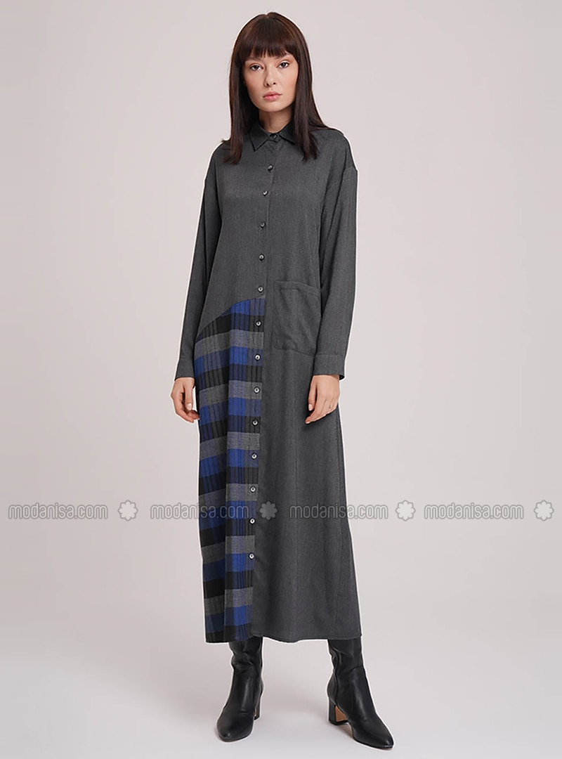 Anthracite - Point Collar - Viscose - Dress