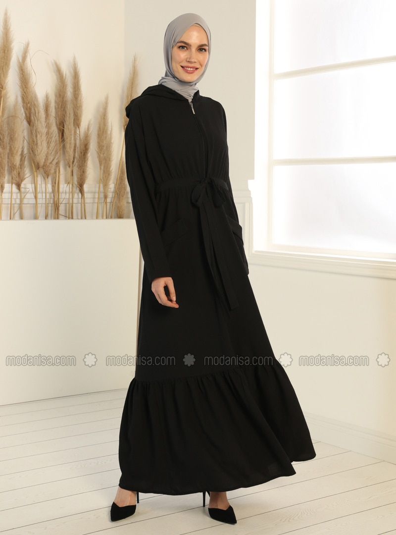 Black - Black - Unlined - Abaya