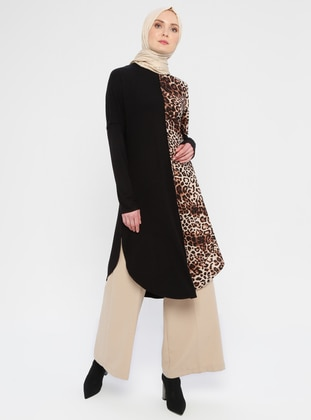 Brown - Black - Leopard - Crew neck -  - Tunic