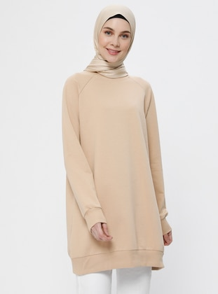Beige - Crew neck -  - Tunic - Everyday Basic