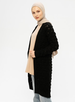 Black - Unlined - Acrylic -  - Knit Cardigans