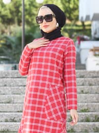 Red - Crew neck - Unlined -  - Dress