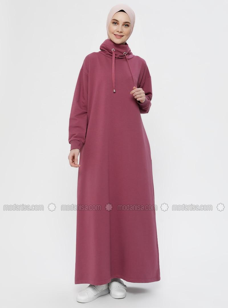Eski Gül - Yüksek yakalı - Astarsız kumaş - - Elbise