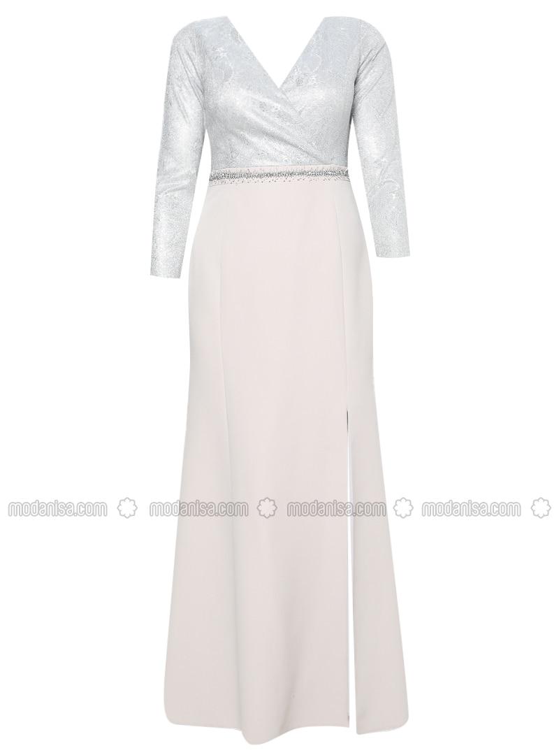 Mink - Fully Lined - V neck Collar - Modest Plus Size Evening Dress